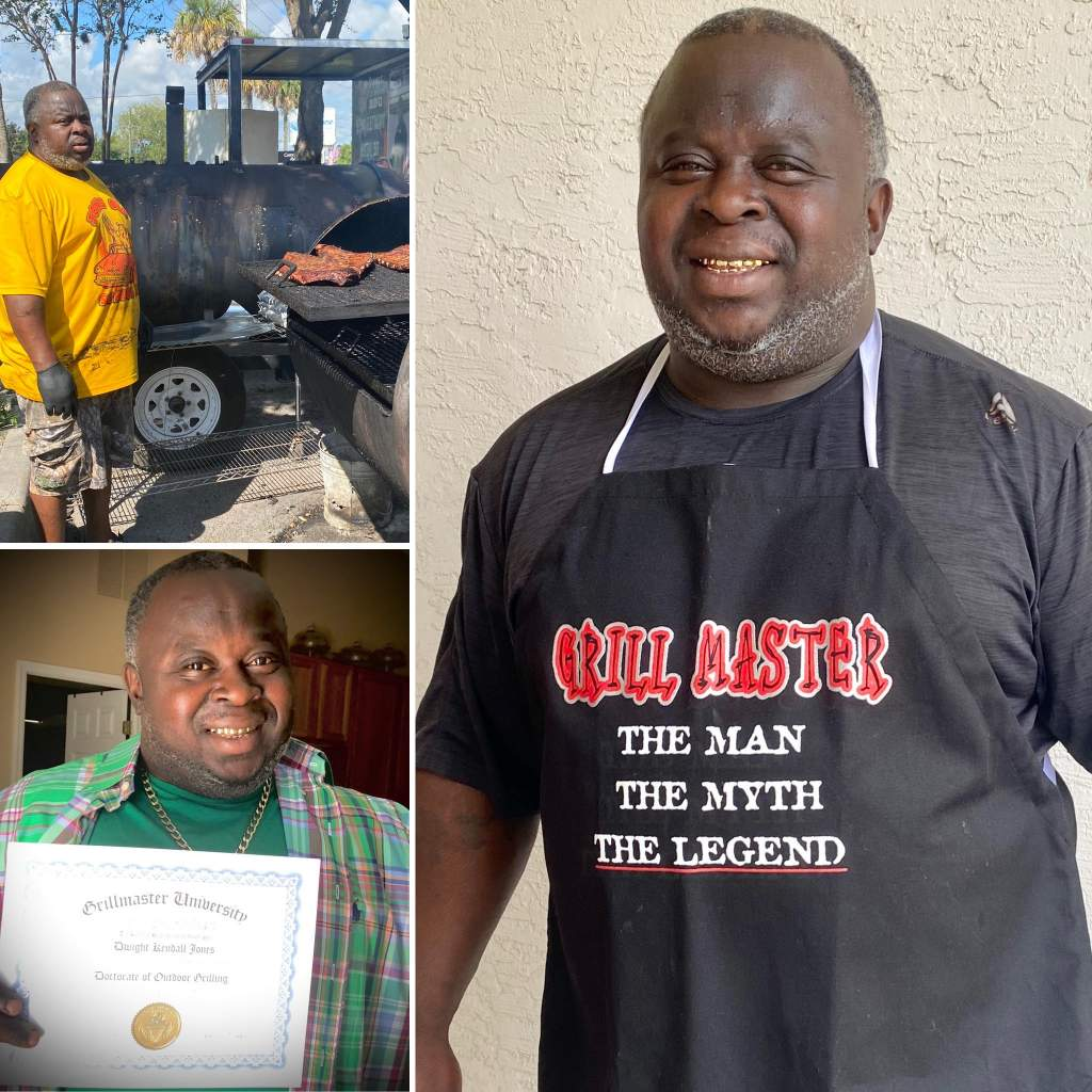 "Three images: Mr. Jones barbequing, Holding up a Grillmaster University Doctorate of Outdoor Grilling, and smiling with a ""Grill Master"" apron"